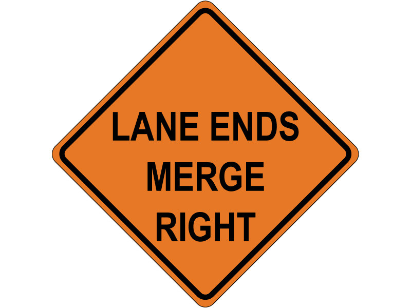Lane Ends Merge Right